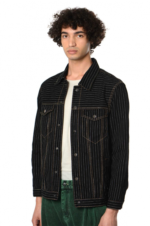 DAVID CATALÁN Pinstripe Black Denim Jacket  0
