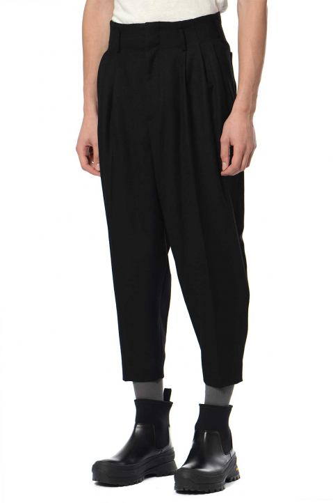 FUMITO GANRYU Black Wool Zip Trousers 0