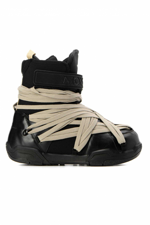 MONCLER X RICK OWENS Black Leather Boots 0
