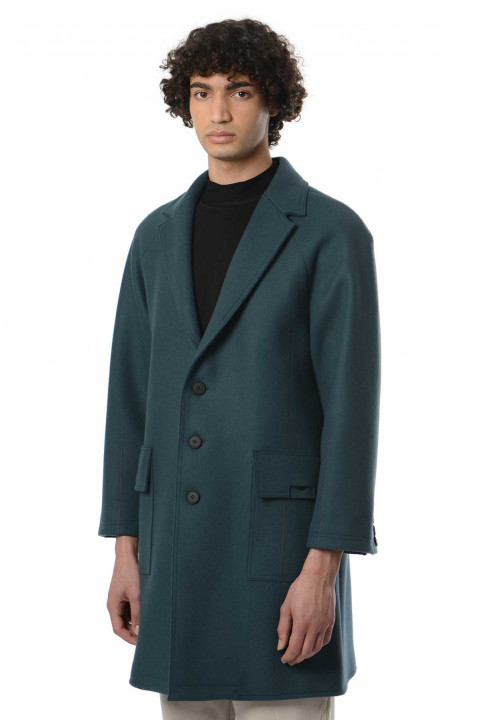A-COLD-WALL* Teal Woven Overcoat 0