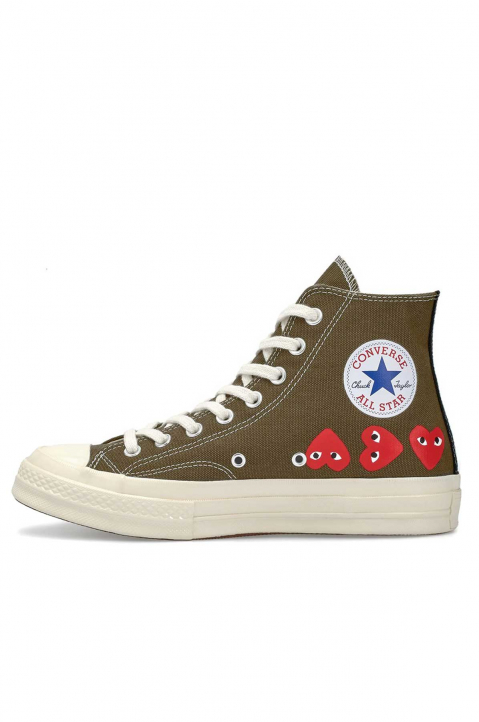 COMME DES GARÇONS PLAY X CONVERSE Multi-Hearth Khaki High Top 1