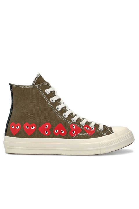 COMME DES GARÇONS PLAY X CONVERSE Multi-Hearth Khaki High Top 0