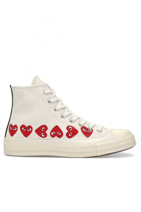 COMME DES GARÇONS PLAY X CONVERSE Multi-Hearth White High Top 0