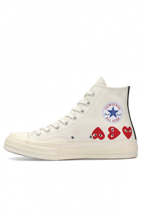 COMME DES GARÇONS PLAY X CONVERSE Multi-Hearth White High Top 1