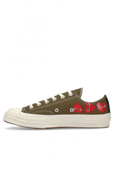 COMME DES GARÇONS PLAY X CONVERSE Multi-Hearth Khaki Low Top 1