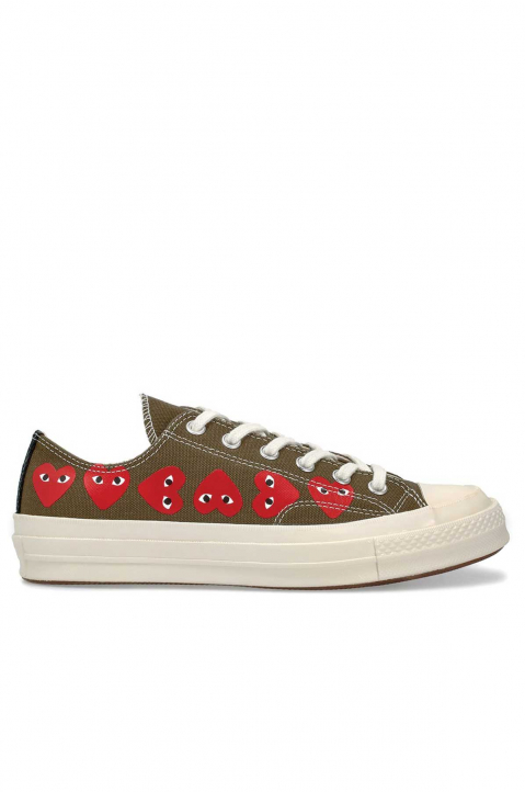 COMME DES GARÇONS PLAY X CONVERSE Multi-Hearth Khaki Low Top 0