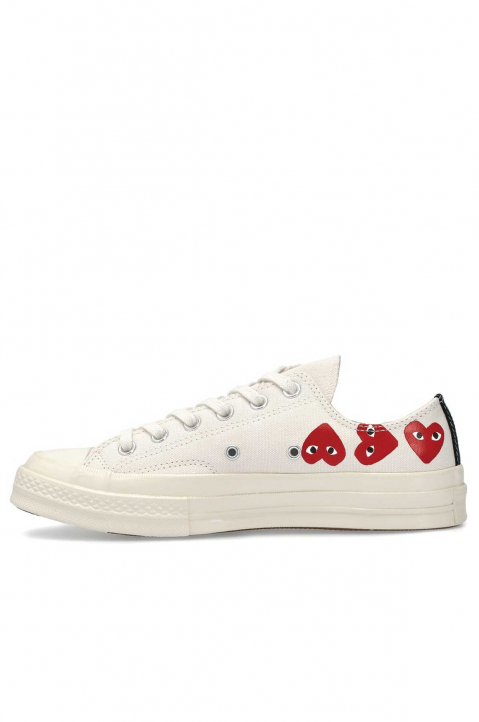COMME DES GARÇONS PLAY X CONVERSE Multi-Hearth White Low Top 1