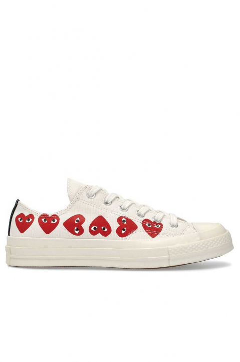 COMME DES GARÇONS PLAY X CONVERSE Multi-Hearth White Low Top 0
