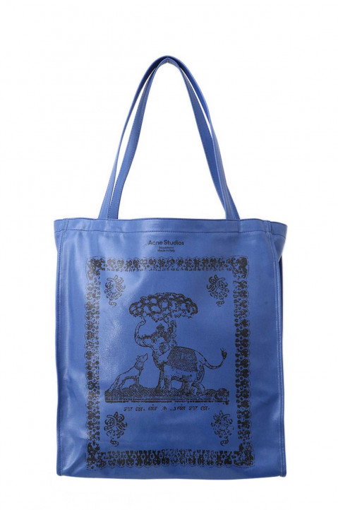ACNE STUDIOS Blue Oilcloth Tote Bag 0