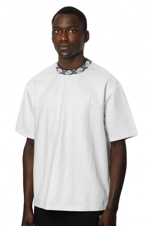 ACNE STUDIOS Logo Neck White Tee 0