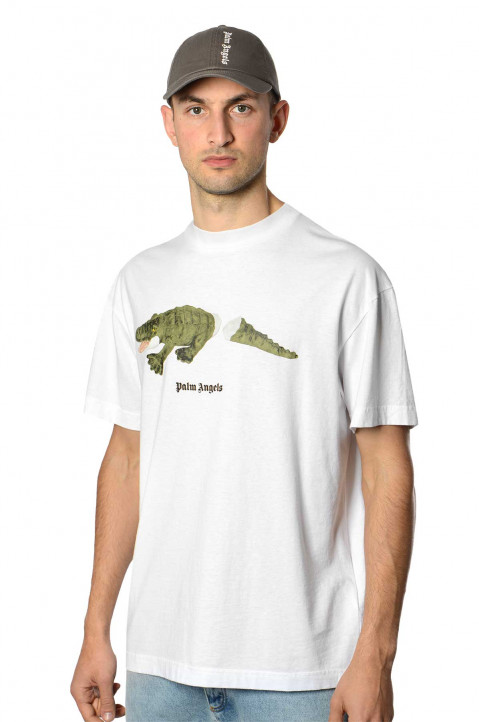 PALM ANGELS Croco White Tee 0