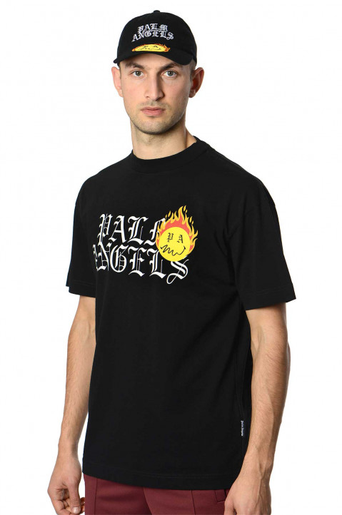 PALM ANGELS X SMILEY® Burning Head Black Tee 0