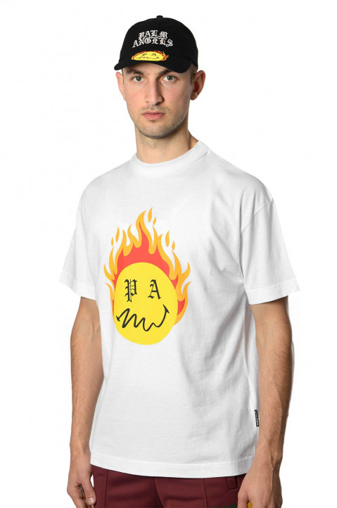 PALM ANGELS X SMILEY® Burning Head White Tee 0