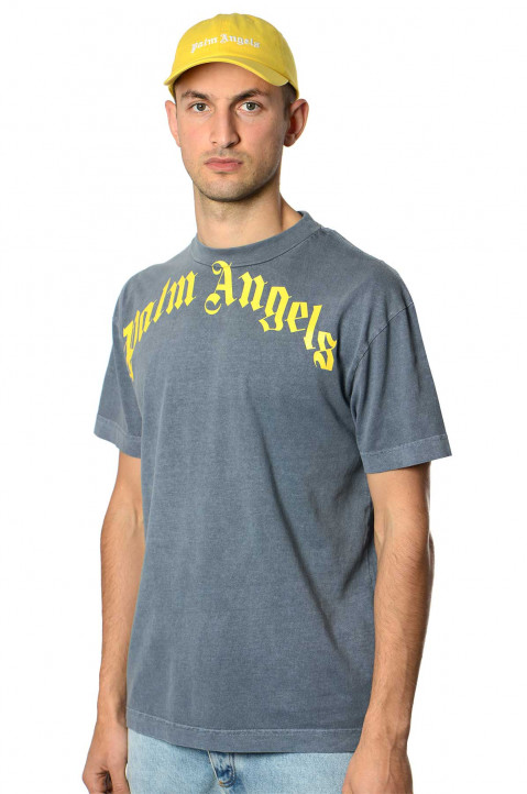 PALM ANGELS Vintage Blue Curved Logo Tee 0