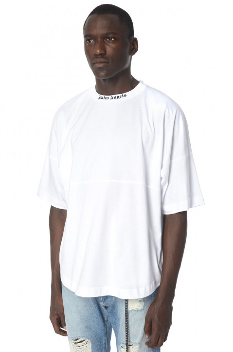 PALM ANGELS Logo Over White T-Shirt 0