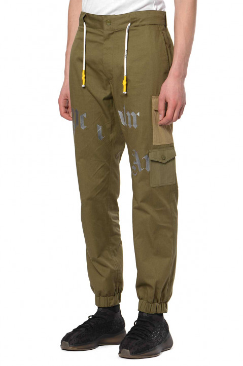 PALM ANGELS Iridescent Logo Green Cargo Trousers  0