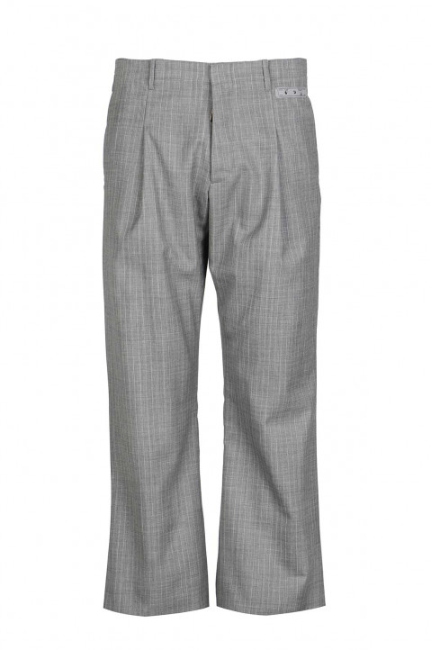 OFF-WHITE Low Cut Pinstripe Formal Grey Trousers 0