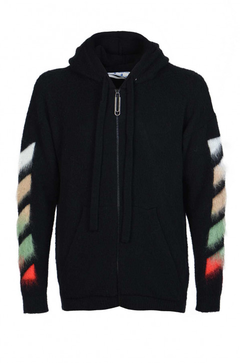 OFF-WHITE Brushed Mohair Black Zip Hoodie   0