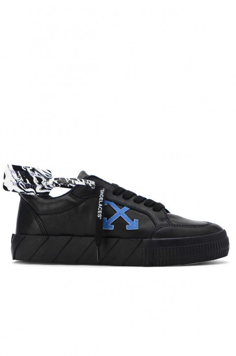 OFF-WHITE Low Vulcanized Black Leather Sneakers 0