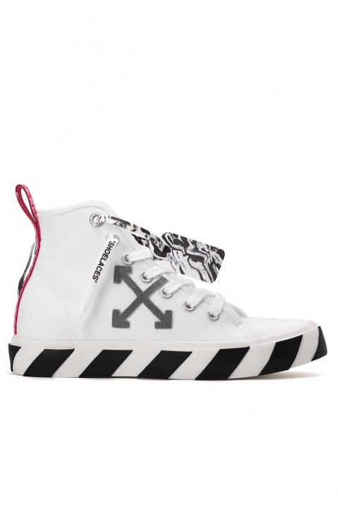 OFF-WHITE Mid Top Vulcanized White Canvas Sneakers 0