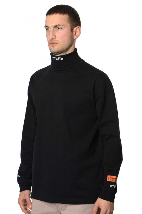 HERON PRESTON Roll-Neck CTNMB Black Sweatshirt 0