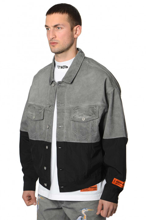 HERON PRESTON Nylon Denim Trucker Jacket 0