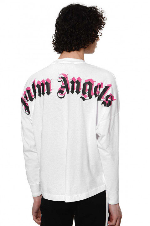 PALM ANGELS Double Logo White Over LS Tee 0