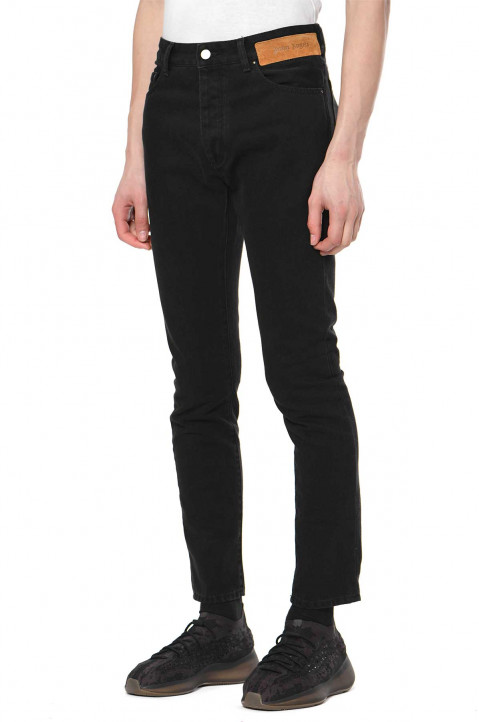 PALM ANGELS Curved Logo Black Jeans 0