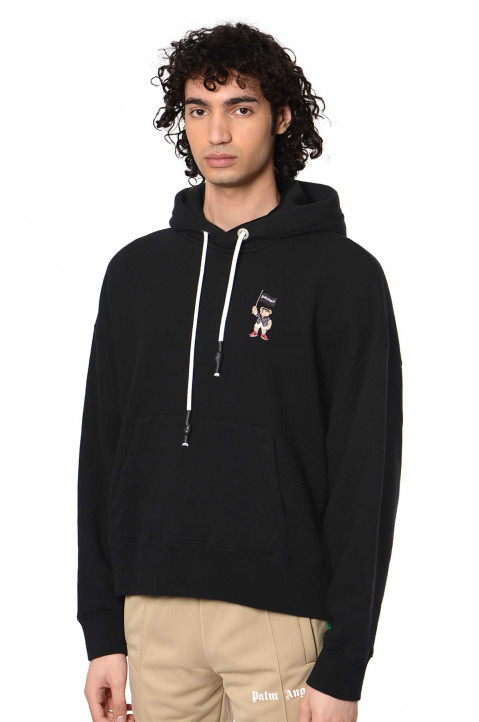 PALM ANGELS Small Pirate Bear Black Hoodie 0