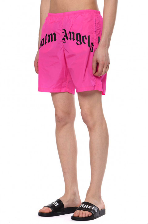 PALM ANGELS Curved Logo Pink Swim Shorts 0