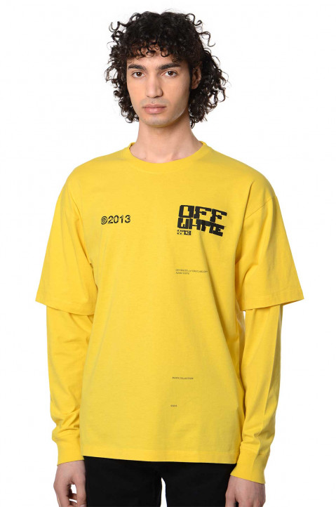 OFF-WHITE Tech Marker Double Sleeve Yellow T-shirt  0