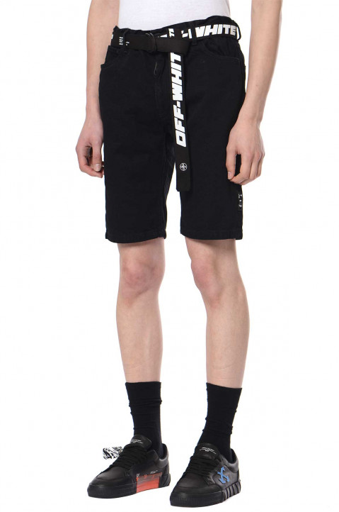 OFF-WHITE Black Denim Shorts  0