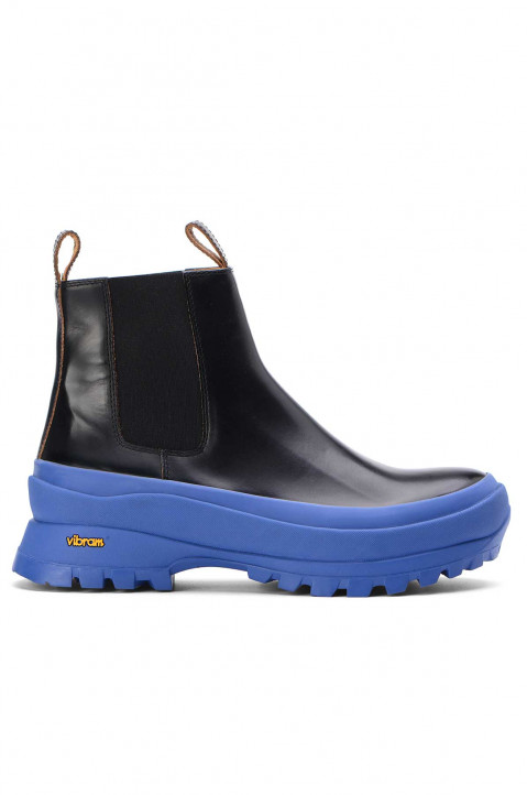 JIL SANDER Blue/Black Leather Chelsea Boot 0