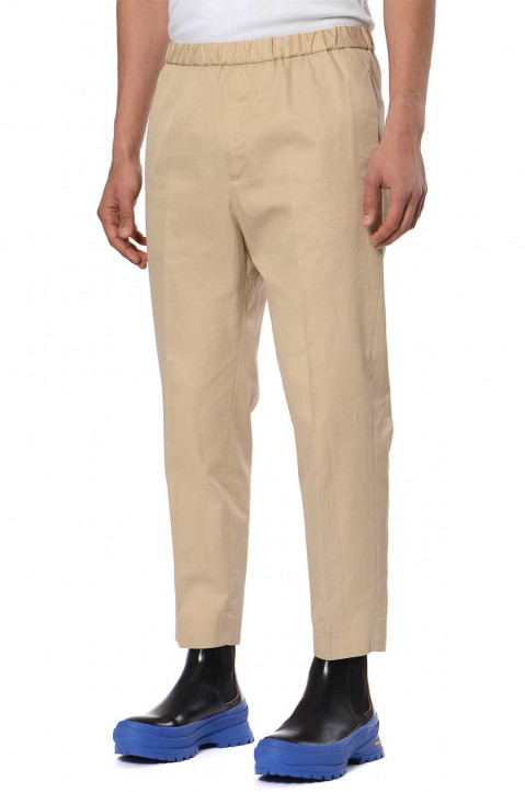 JIL SANDER Cropped Beige Trousers 0
