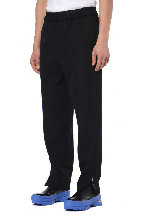 JIL SANDER Fluid Black Wool Trousers  0