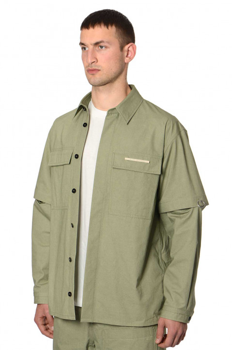 JIL SANDER Pin Sleeves Green Hybrid Overshirt  0