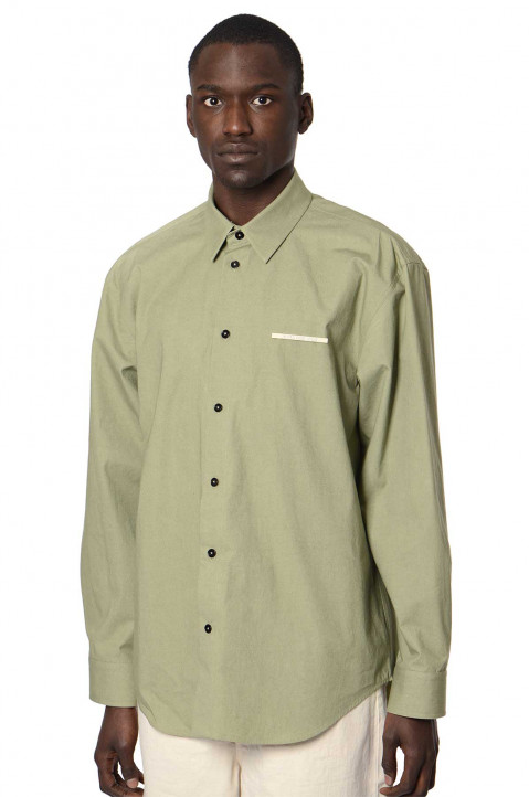 JIL SANDER White Pin Oversized Green Shirt 0