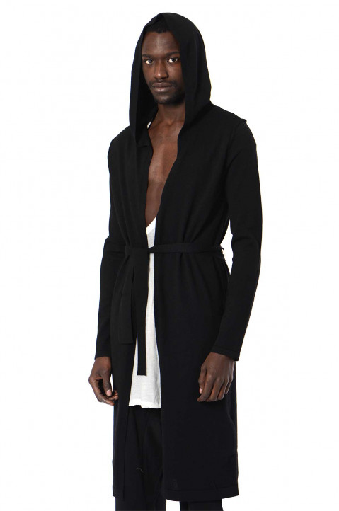 RICK OWENS Phlegethon Hooded Wool Cardigal  0