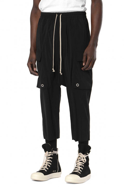 RICK OWENS Black Cargo Cropped Trousers  0