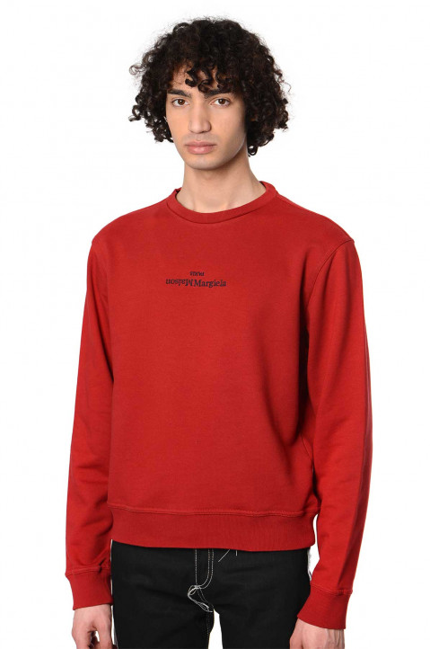 MAISON MARGIELA Inverted Logo Red Sweatshirt 0