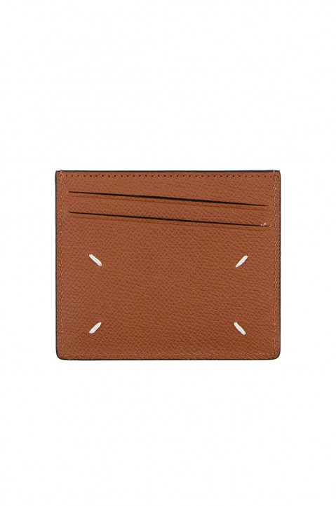 MAISON MARGIELA Textured Brown Leather Cardholder 0