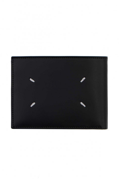 MAISON MARGIELA Black Leather Zip Wallet w/ Black Hardware  0