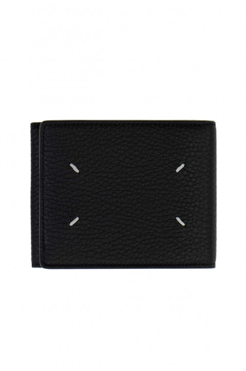 MAISON MARGIELA Textured Black Folded Wallet w/ Coin Pocket 0