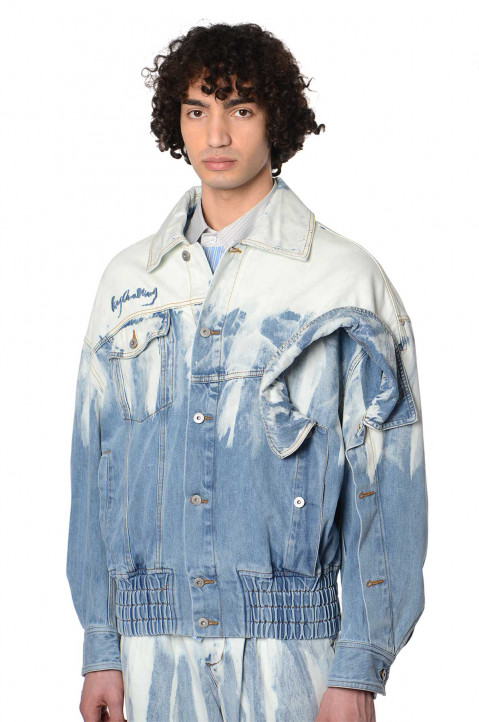 FENG CHEN WANG Brush Stroke Denim Jacket  0