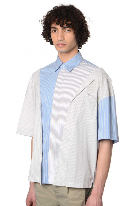 FENG CHEN WANG Double Layer Striped Shirt  0