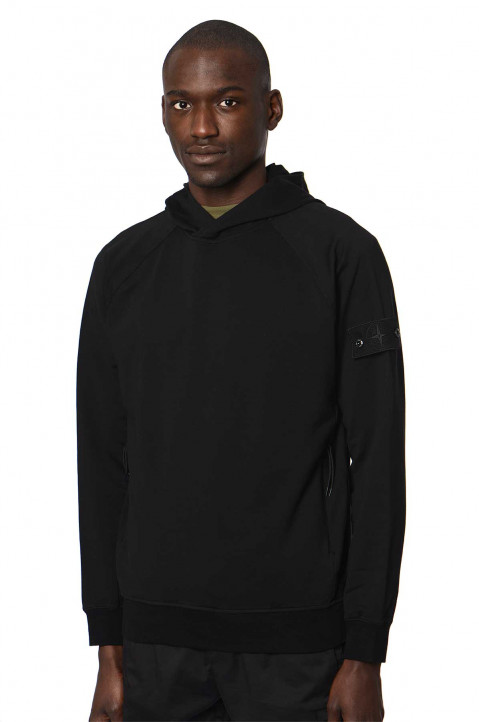 STONE ISLAND Ghost Black Hooded Sweatshirt 0