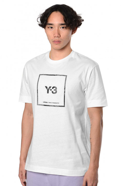 Y-3 Reflective Square Logo White Tee 0
