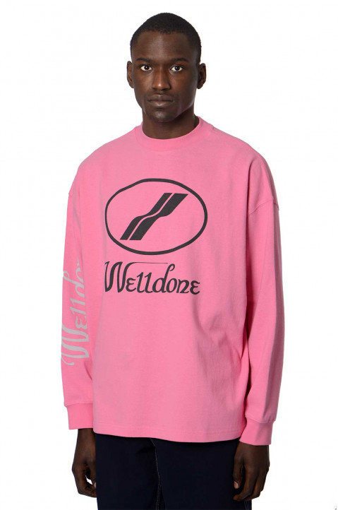 WE11DONE Logo LS Pink T-shirt 0