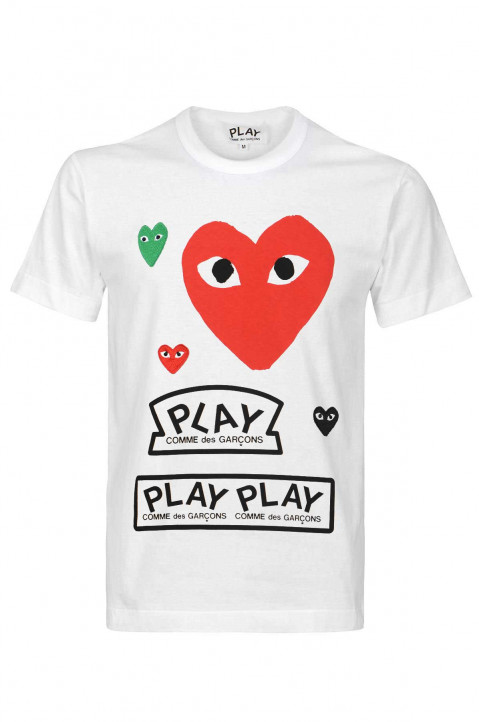 COMME DES GARÇONS PLAY Red Multi Logo White Tee 0