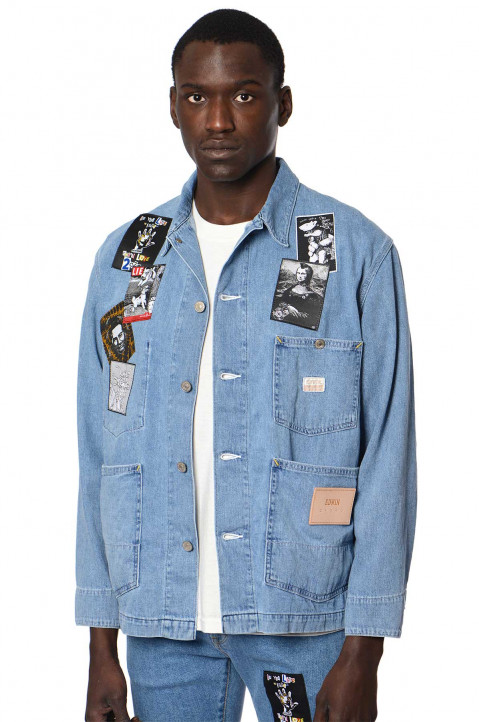KIDILL X EDWIN Patches Blue Denim Shirt-Jacket 0